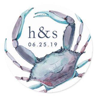 Blue Crab Wedding Monogram Classic Round Sticker