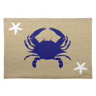 "Blue Crab & White Starfish Nautical Beach ""Burlap"" Cloth Placemat"