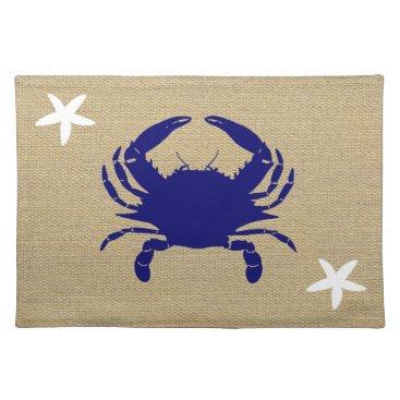 """Beach Themed Blue Crab & White Starfish Nautical Beach """"Burlap"""" Cloth Placemat"""