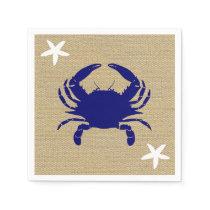 """Blue Crab & White Starfish Nautical Beach """"Burlap"""" Napkin"""