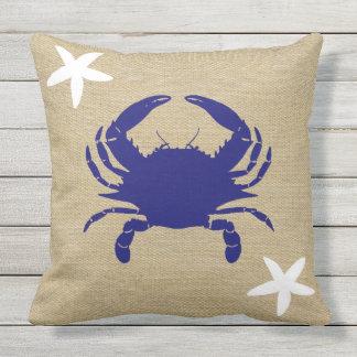 "Blue Crab & White Starfish Nautical Beach ""Burlap"" Outdoor Pillow"