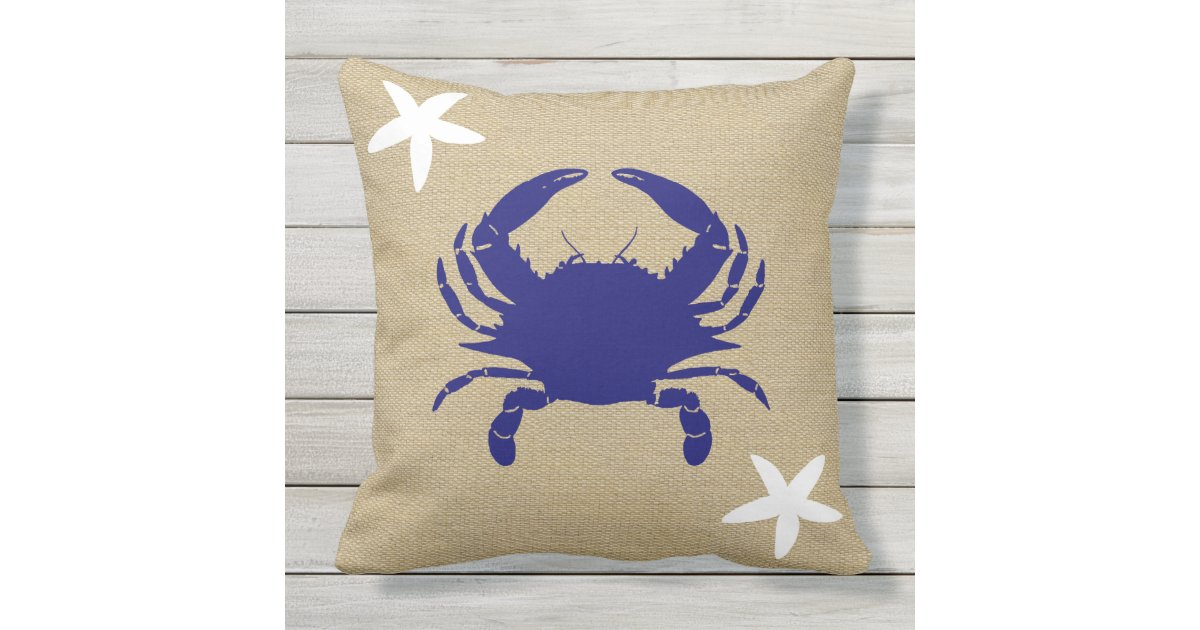 Blue Crab Amp White Starfish Nautical Beach Quot Burlap Quot Outdoor