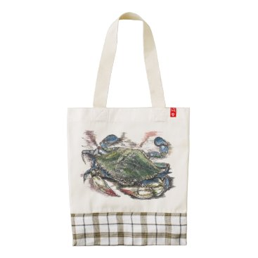 Valentines Themed Blue Crab Zazzle Heart Tote