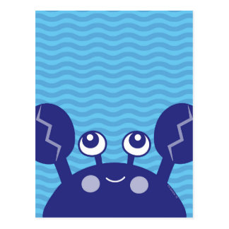 Blue Crabby Crab Postcard