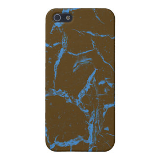 BLUE CRACKS ON BROWN iPhone SE/5/5s COVER