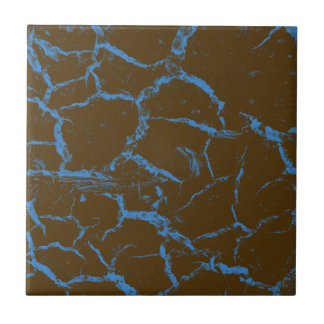 BLUE CRACKS ON BROWN SMALL SQUARE TILE
