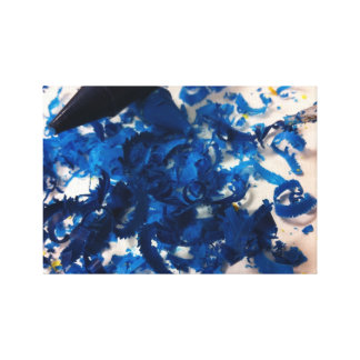 Blue Crayons with Shavings Photo Canvas