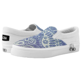 Blue Cream Abstract Pattern Printed Shoes