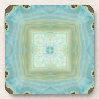 Blue Cream Agate Geode Gemstone Crystal Patterns Beverage Coaster