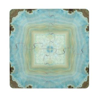 Blue Cream Agate Geode Gemstone Crystal Patterns Puzzle Coaster