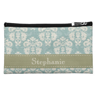 Blue Cream and Green Damask Cosmetic Bag