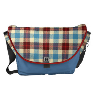 Blue, Cream and Red Blanket Plaid Courier Bag
