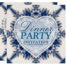 Blue & Cream Boho Chic Country Dinner Party Invitation