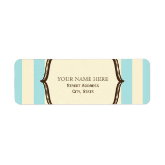 Blue Cream & Brown Vintage Circus Inspired Label Return Address Label