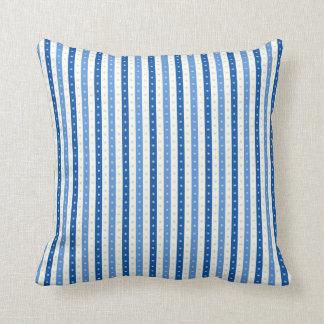 Blue & Cream Candy-Wrap Stripes. Throw Pillow