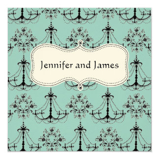 Blue Cream Chandelier Save The Date Card
