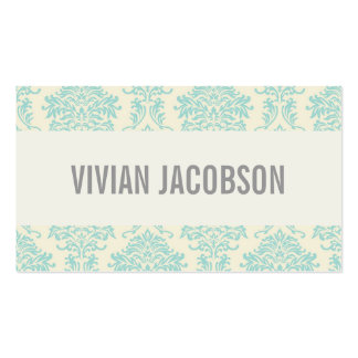 BLUE & CREAM CHIC DAMASK   BUSINESS CARDS