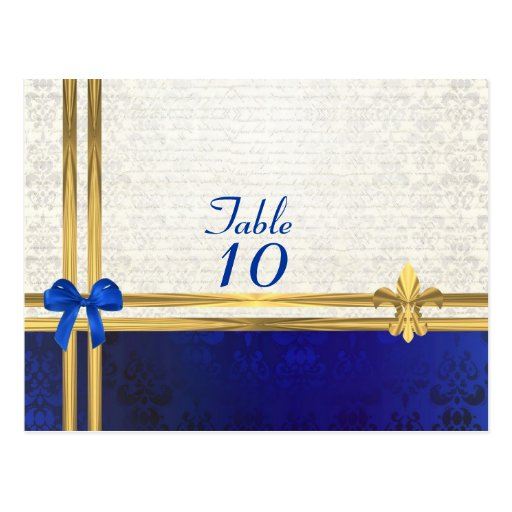 Blue cream damask table number postcard