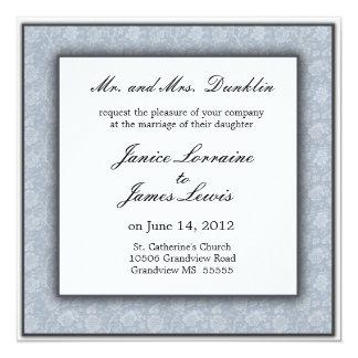 Blue cream elegant damask wedding invitation