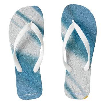 Beach Themed blue cream flip flops