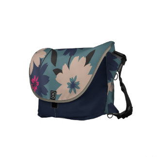 Blue & Cream Floral Messenger Bag