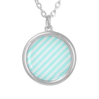 Blue Cream Stripes Custom Necklace