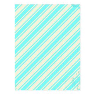 Blue Cream Stripes Postcard