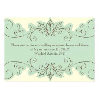 Blue Cream Swirl Elegant Wedding Reception Card Business Cards