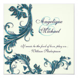 Blue cream wedding anniversary engagement 5.25x5.25 square paper invitation card