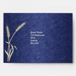 Blue cream wedding envelope template
