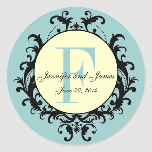 Blue Cream Wedding Monogram F Names Date Label Classic Round Sticker