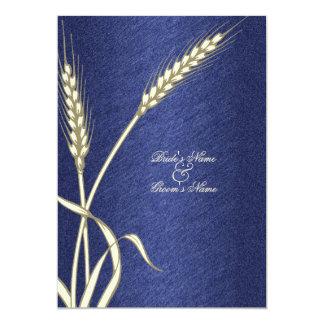 Blue cream wedding wheat flower 5x7 paper invitation card