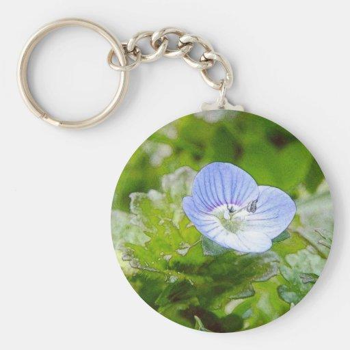 Blue Creeping Speedwell Blooms Basic Round Button Keychain