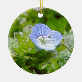 Blue Creeping Speedwell Blooms Ceramic Ornament