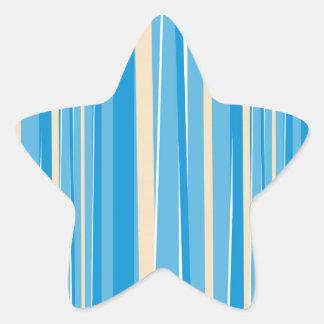 Blue & Creme Modern Stripe Star Sticker
