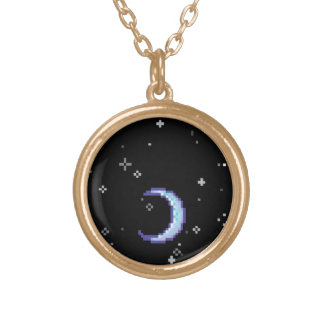 Blue Crescent Moon With Stars Pixel Art Round Pendant Necklace
