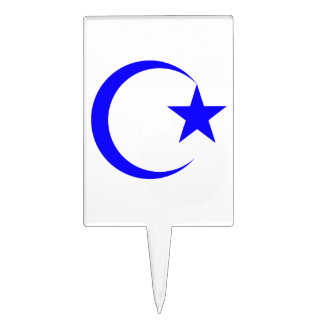 Blue Crescent & Star.png Cake Topper