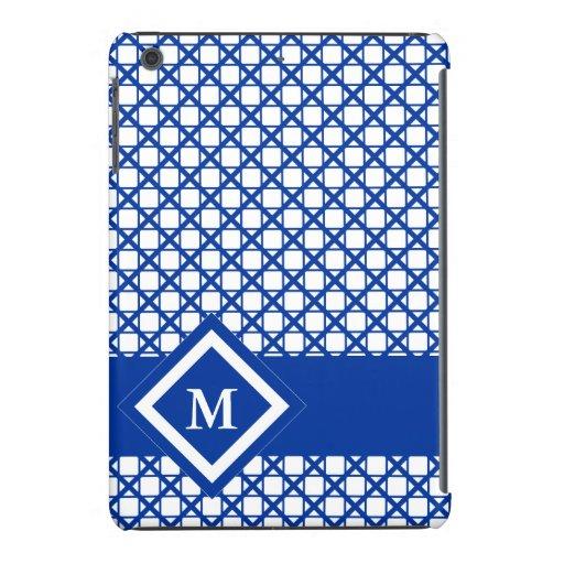 Blue Crisscross & Boxes Geometric Pattern iPad Mini Retina Covers