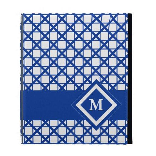 Blue Crisscross & Boxes Geometric Pattern iPad Cases