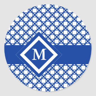 Blue Crisscross & Boxes Geometric Pattern Classic Round Sticker