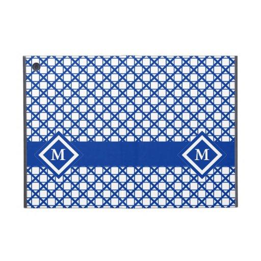Blue Crisscross & Boxes Geometric Pattern Case For iPad Mini
