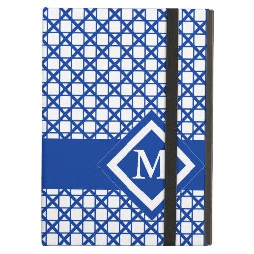 Blue Crisscross & Boxes Geometric Pattern iPad Cover