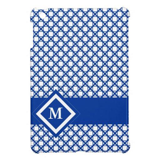 Blue Crisscross & Boxes Geometric Pattern iPad Mini Cases