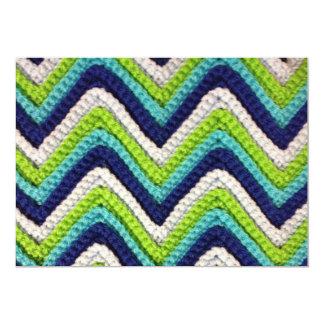 Blue Crochet Chevron Invitation