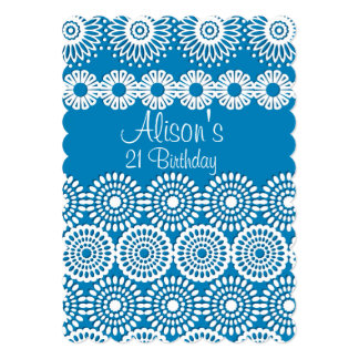 Blue crochet lace girly vintage flowers Birthday Card