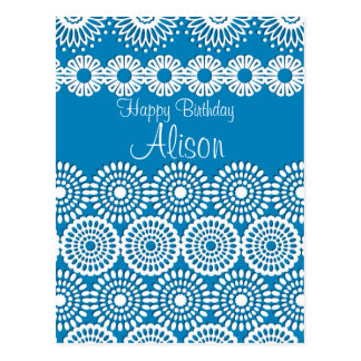 Blue crochet lace girly vintage flowers Birthday Postcard