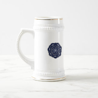 Blue Crocheted Doily Doodle Beer Stein