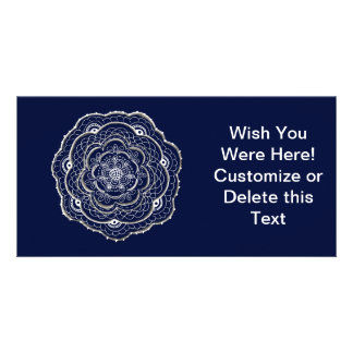 Blue Crocheted Doily Doodle Personalized Photo Card