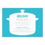 "BLUE CROCK POT | HOLIDAY POTLUCK INVITATIONS 5"" X 7"" INVITATION CARD"