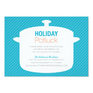 BLUE CROCK POT | HOLIDAY POTLUCK INVITATIONS
